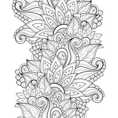Seamless Abstract monochrome floral Pattern