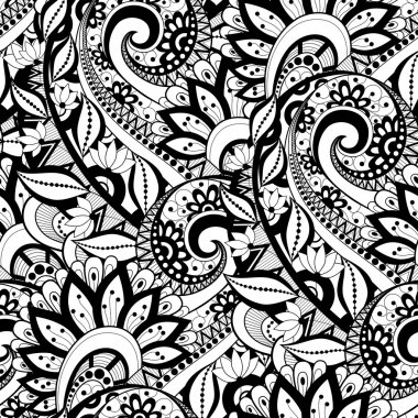 Monochrome contour leaves pattern