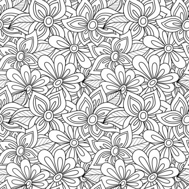 Seamless monochrome foral pattern