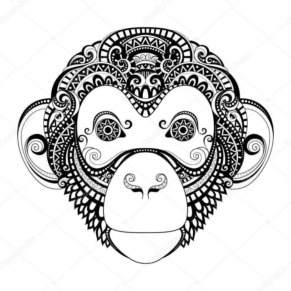 Cabeza mono adornado — Vector de stock © Krivoruchko #80139844