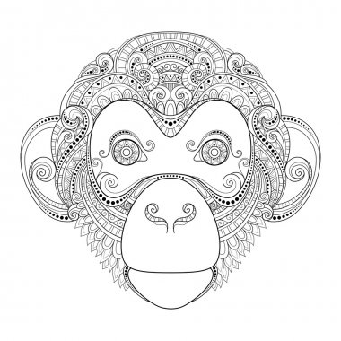 Ornate Monochrome  Monkey Head