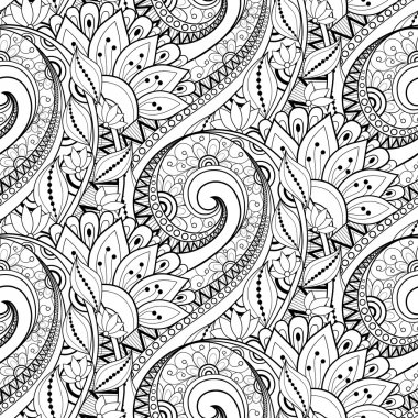 Abstract Seamless Monochrome Floral Pattern