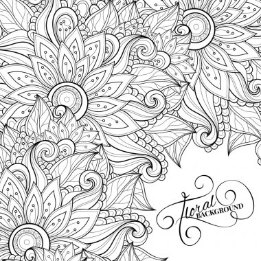 Abstract Monochrome Floral Pattern
