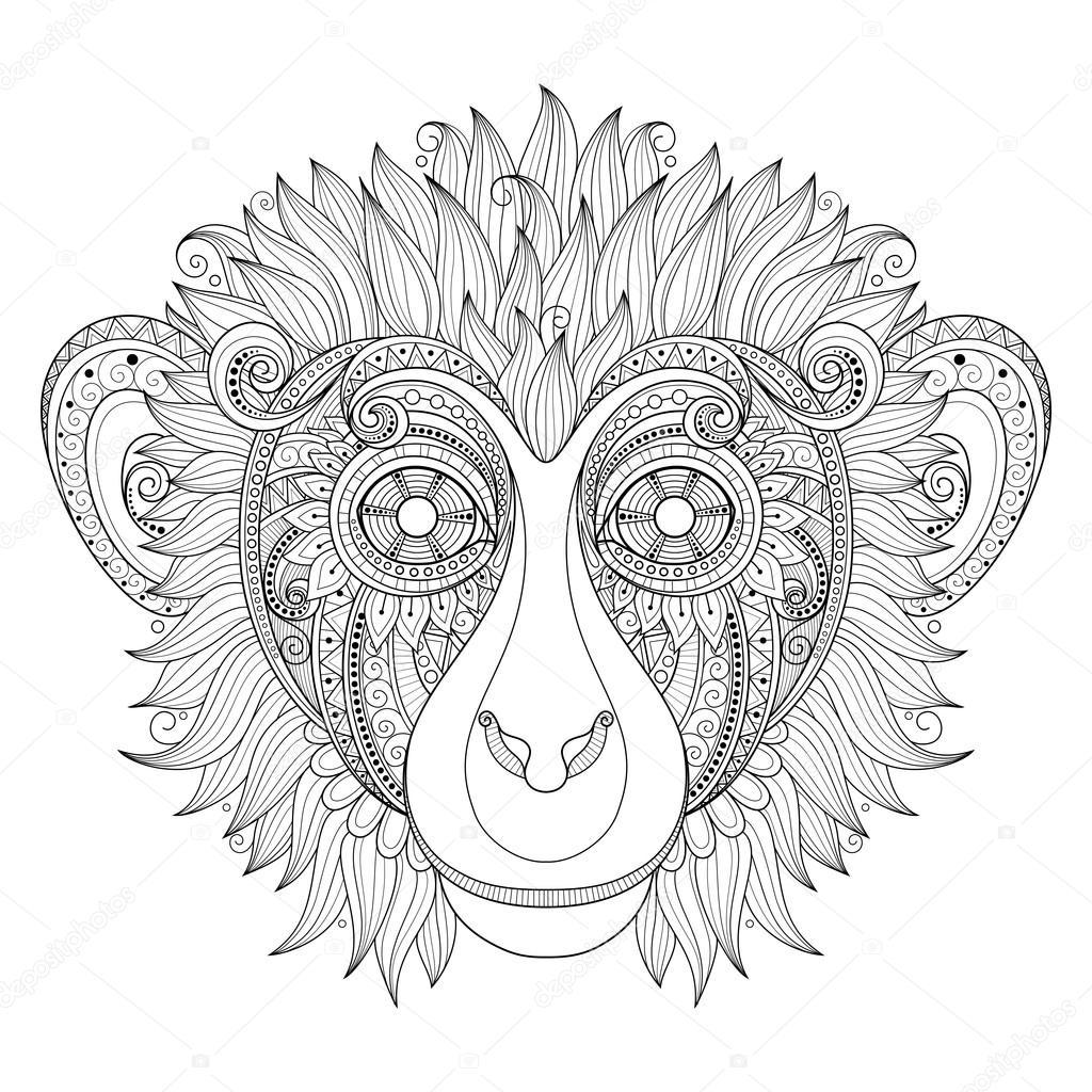 Cabeza de mono con adornos tribales — Archivo Imágenes Vectoriales ...