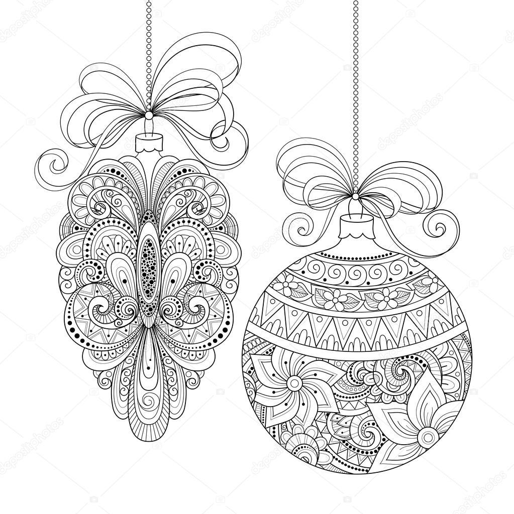 Immagini Di Natale In Bianco E Nero.Decorazioni Di Natale Bianco E Nero Ornato Vettoriali