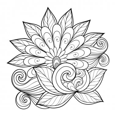 Beautiful Monochrome Contour Flower