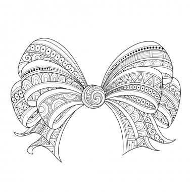 Vector Ornate Monochrome Bow with Pattern