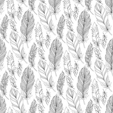 Pattern with Doodle Feathers