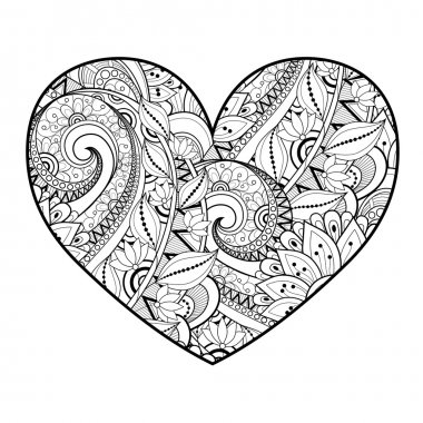 Decorative Monochrome Floral Heart