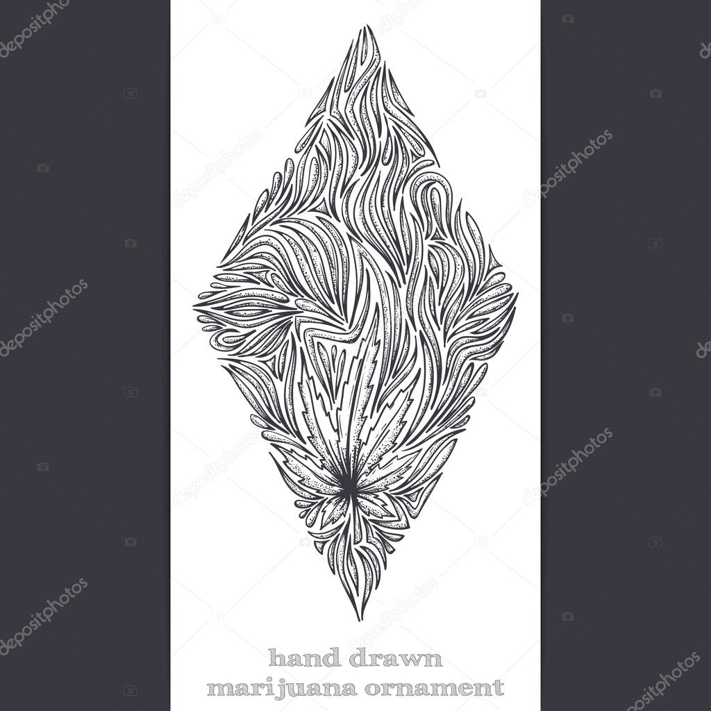 Abstract Ornament of Marijuana Black