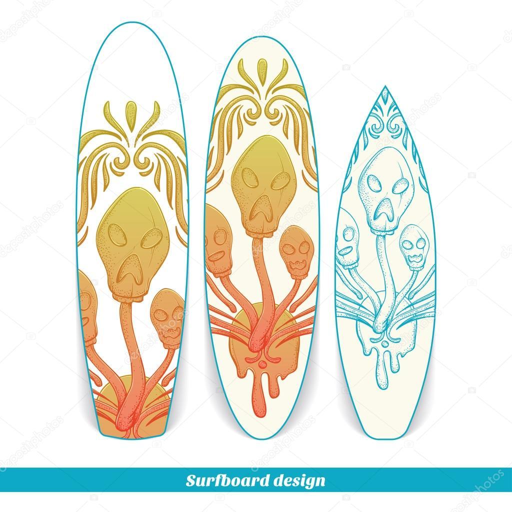Surfboard Design Abstract Mushroom Three