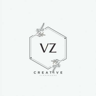VZ Beauty vector initial logo art, handwriting logo of initial signature, wedding, fashion, jewerly, boutique, floral and botanical with creative template for any company or business. icon