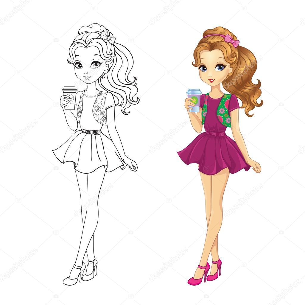 Libro para colorear de café chica — Vector de stock © ingasmk #103674976