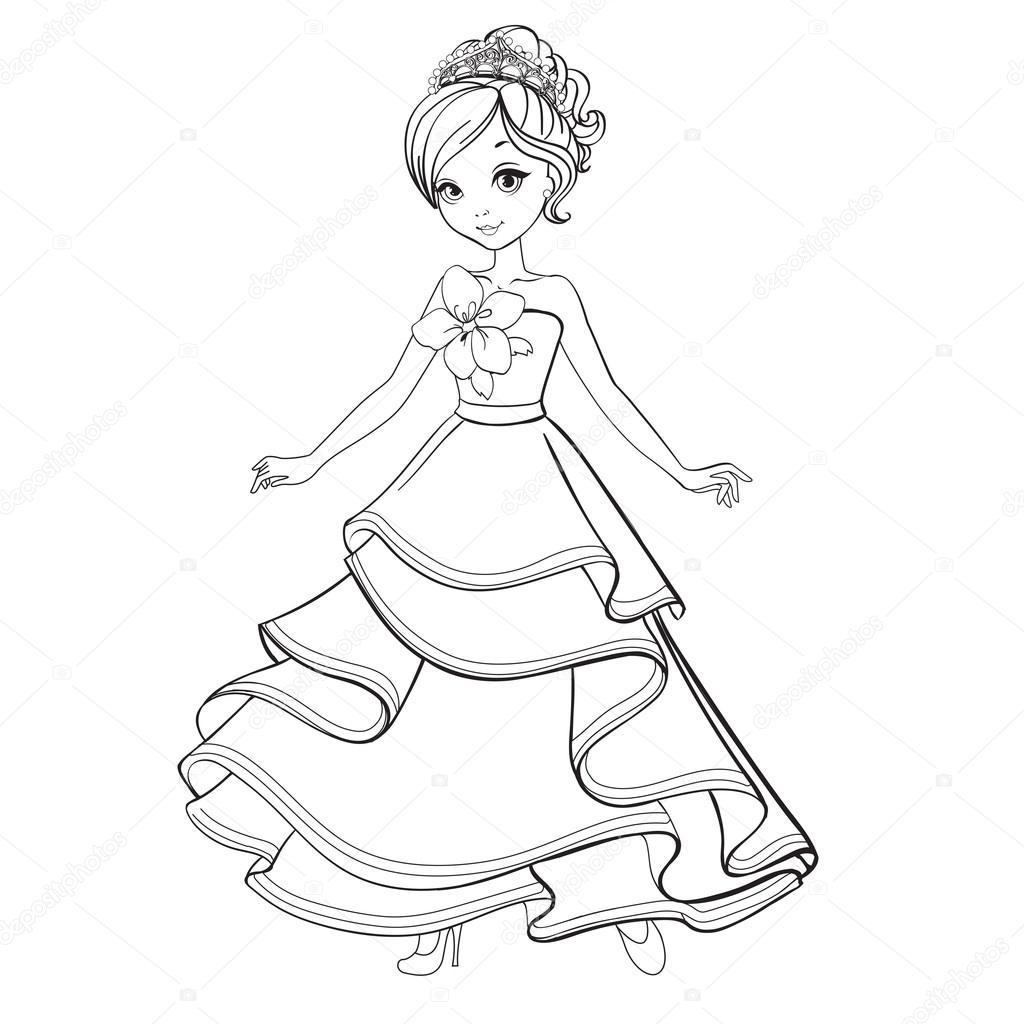 раскраска женщина раскраска принцессы красоты векторное