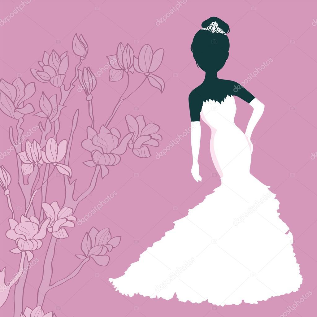 Silueta niña en vestido de novia — Archivo Imágenes Vectoriales ...