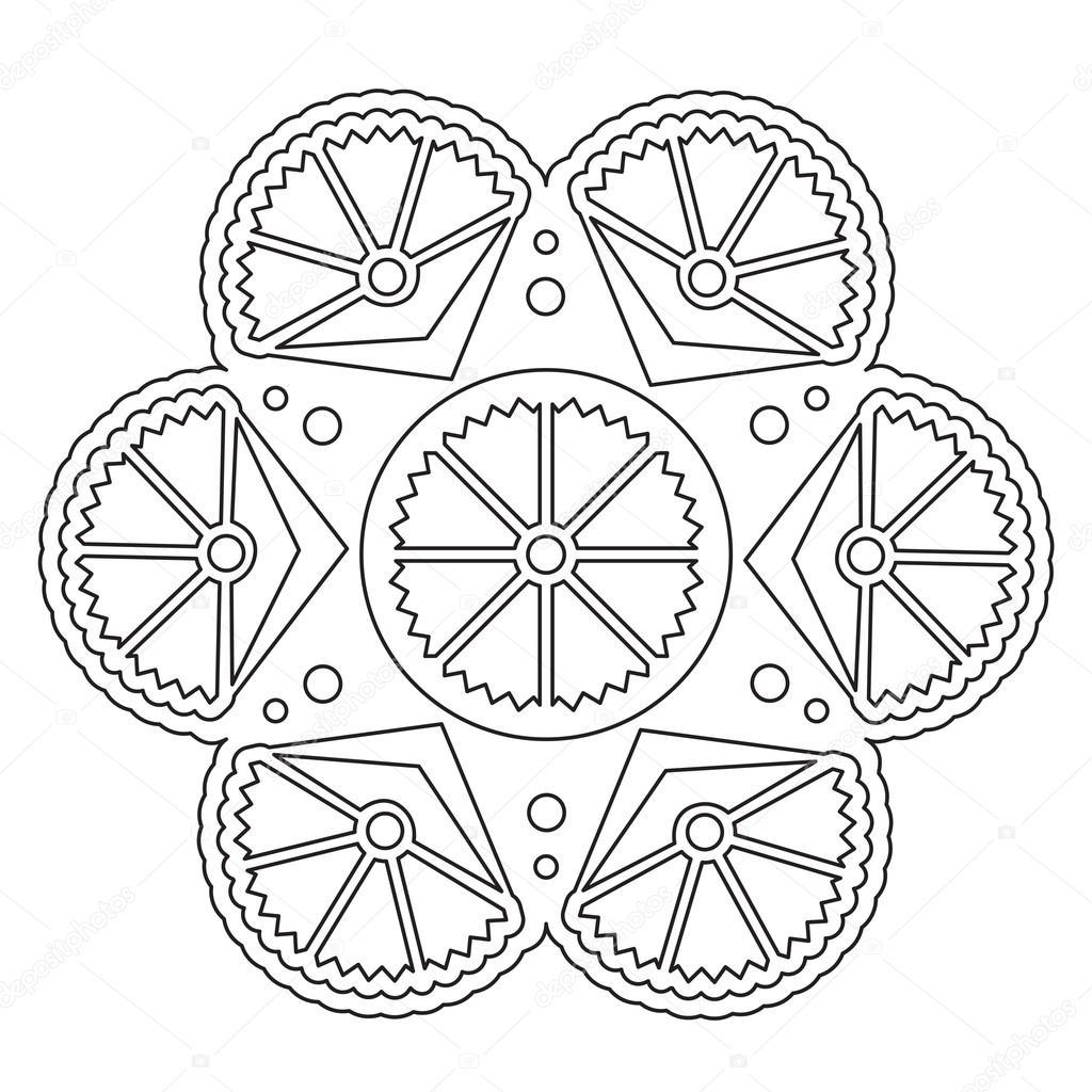Basit çiçek Mandala Boyama Stok Vektör Ingasmk 113330094