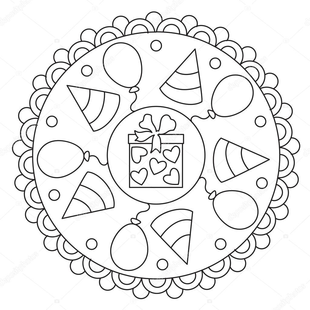 disegni da colorare mandala celebrazione semplice
