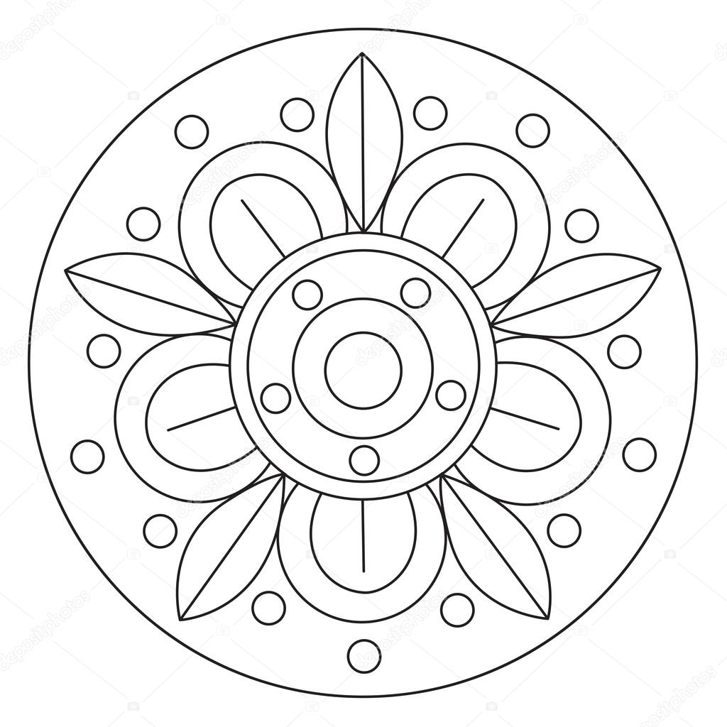 Büyük çiçek Mandala Boyama Stok Vektör Ingasmk 113330108