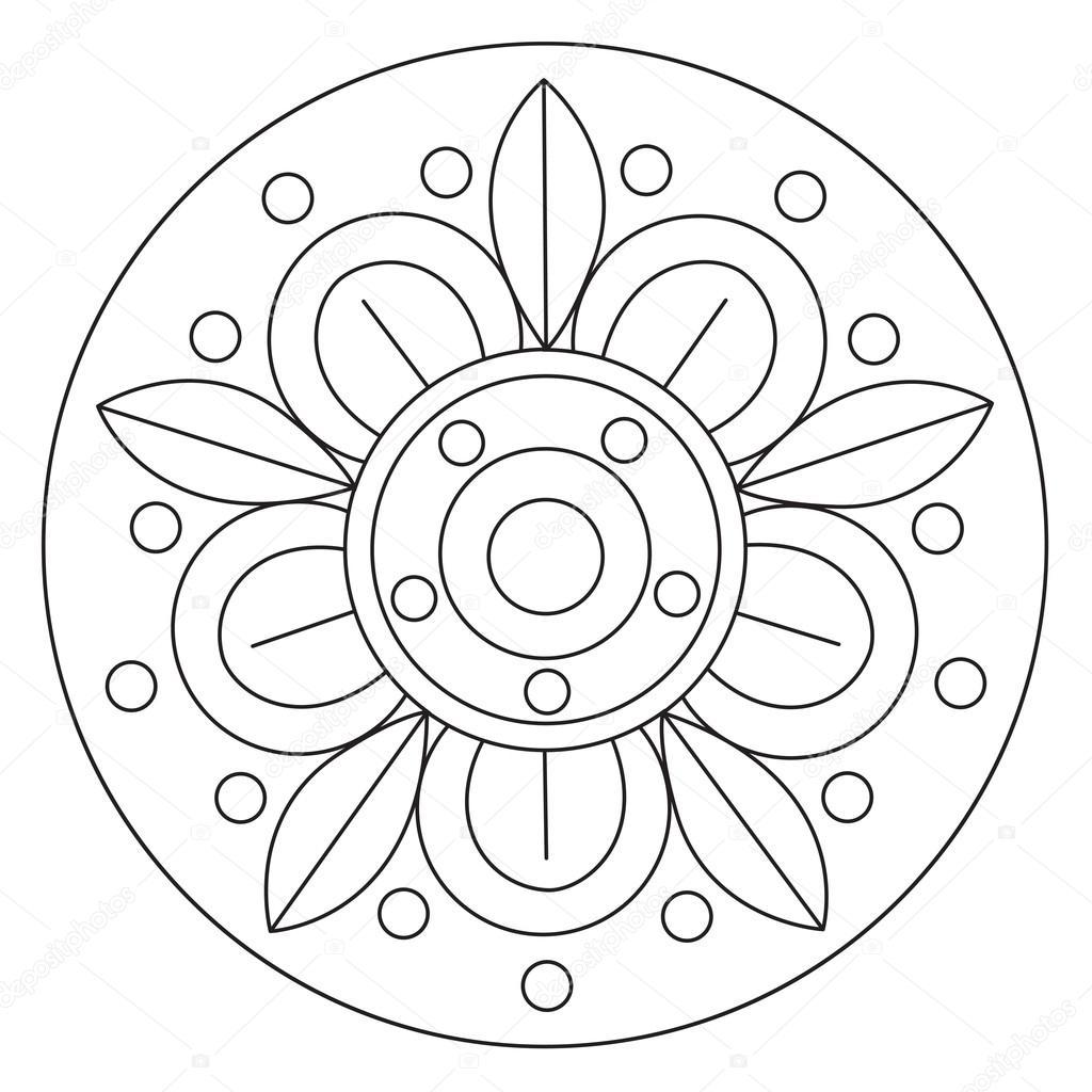 Kleurplaten Herfst Mandala.Eenvoudige Mandala Kleurplaten
