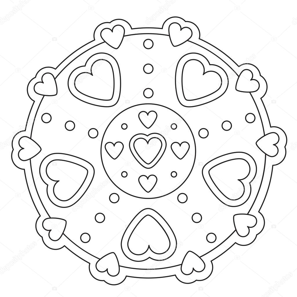 Coloriage Mandala de coeur Simple — Image vectorielle