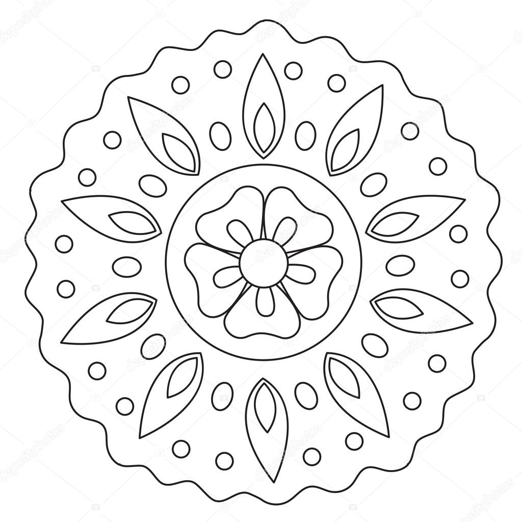 Coloring Wave Floral Mandala Stock Vector C Ingasmk 113330152