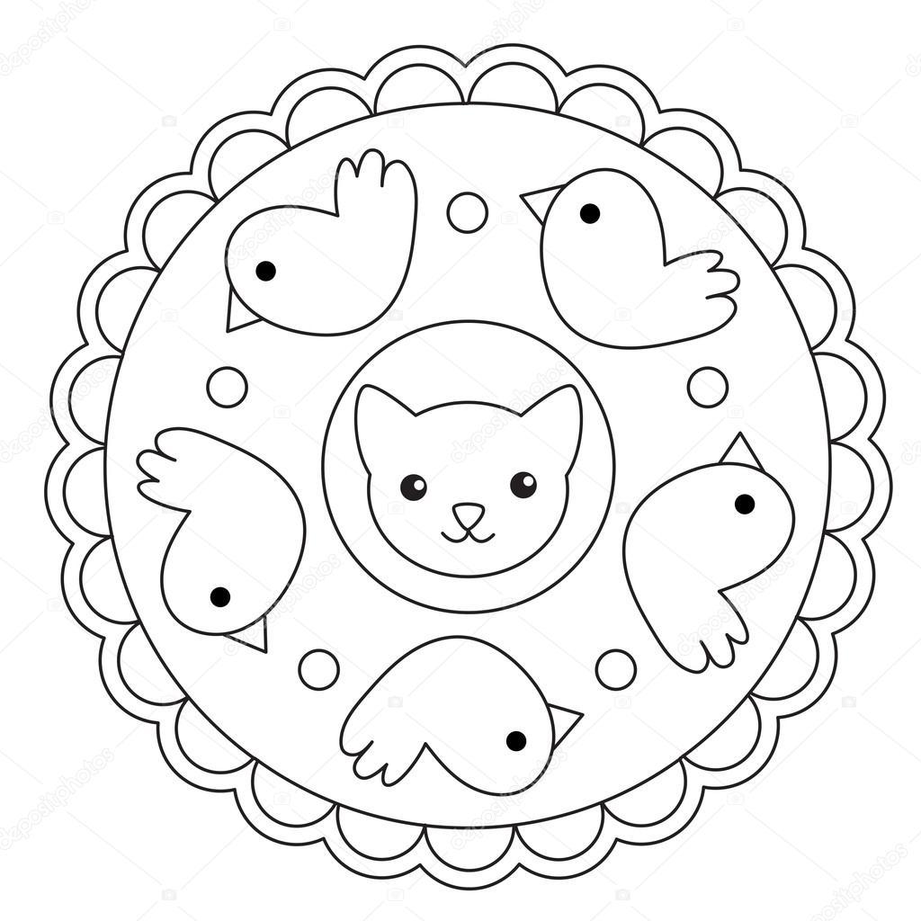 Colorear pájaro y Mandala de gato — Vector de stock © ingasmk #113330168