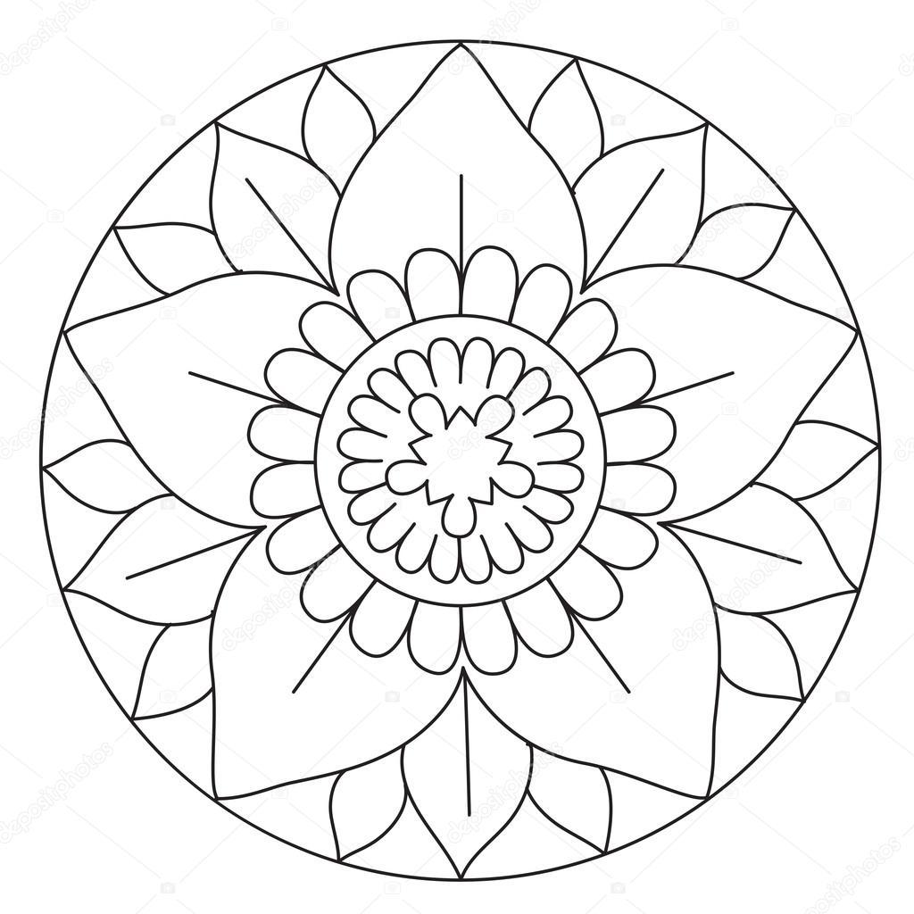 çok Güzel çiçek Mandala Boyama Stok Vektör Ingasmk 113330178