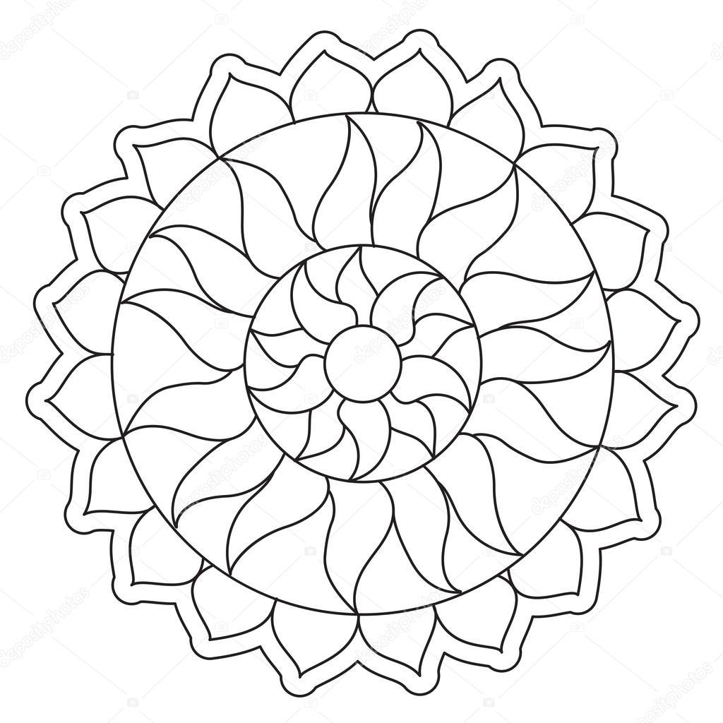 eenvoudige sun mandala kleurplaten stockvector 169 ingasmk