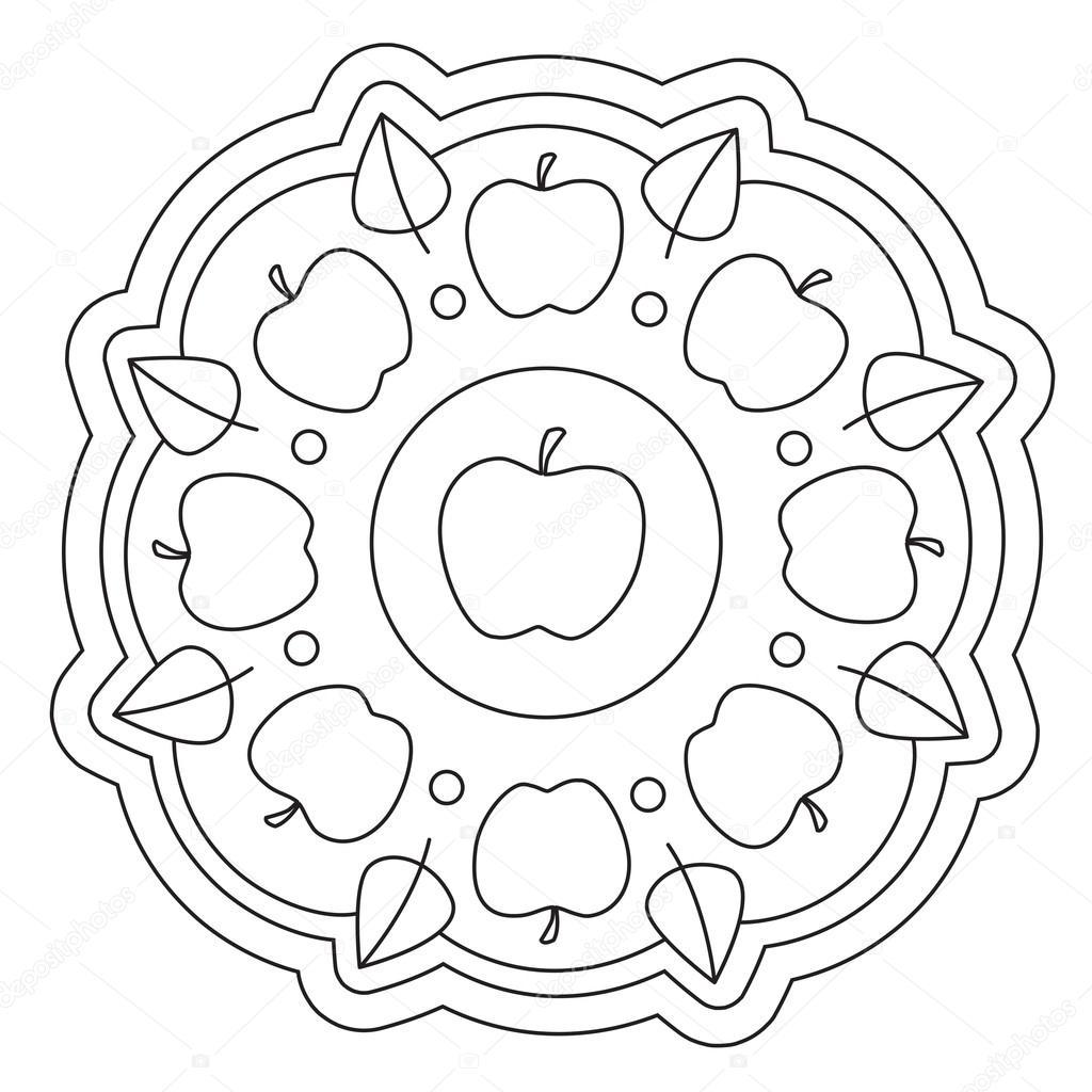 Colorear Mandala de manzana Simple — Archivo Imágenes Vectoriales ...