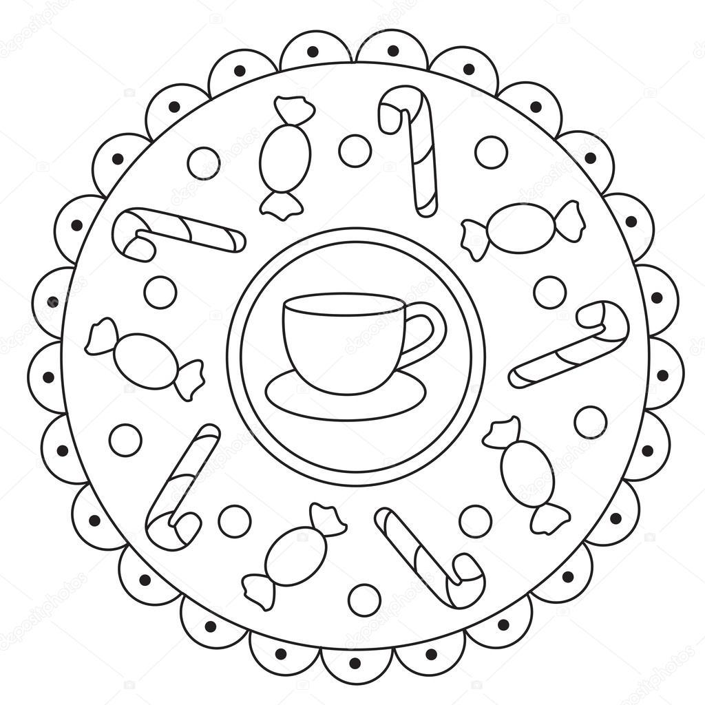 Eenvoudige Snoepjes Mandala Kleurplaten Stockvector C Ingasmk