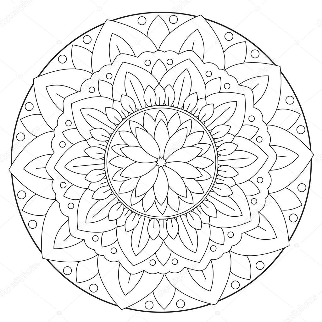 çiçek Yaprak Mandala Boyama Stok Vektör Ingasmk 113523764