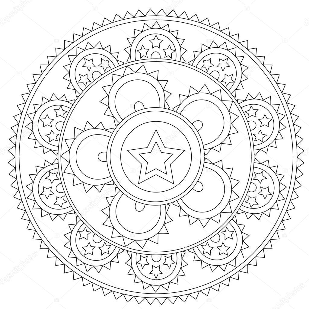 Schwarze Sterne Mandala Malvorlagen — Stockvektor © ingasmk #113524472