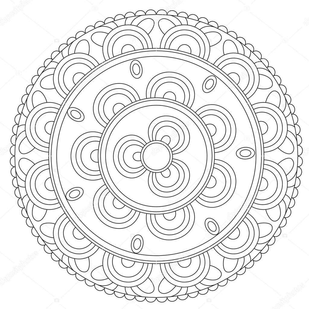 Coloring Black Floral Mandala Stock Vector C Ingasmk 113524494