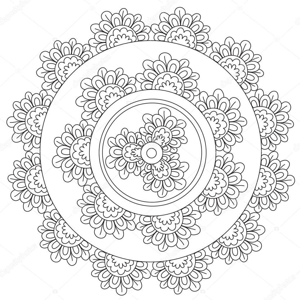 Kleurplaten Bloemen Mandala.Floral Bloemen Mandala Kleurplaten Stockvector C Ingasmk 113524576