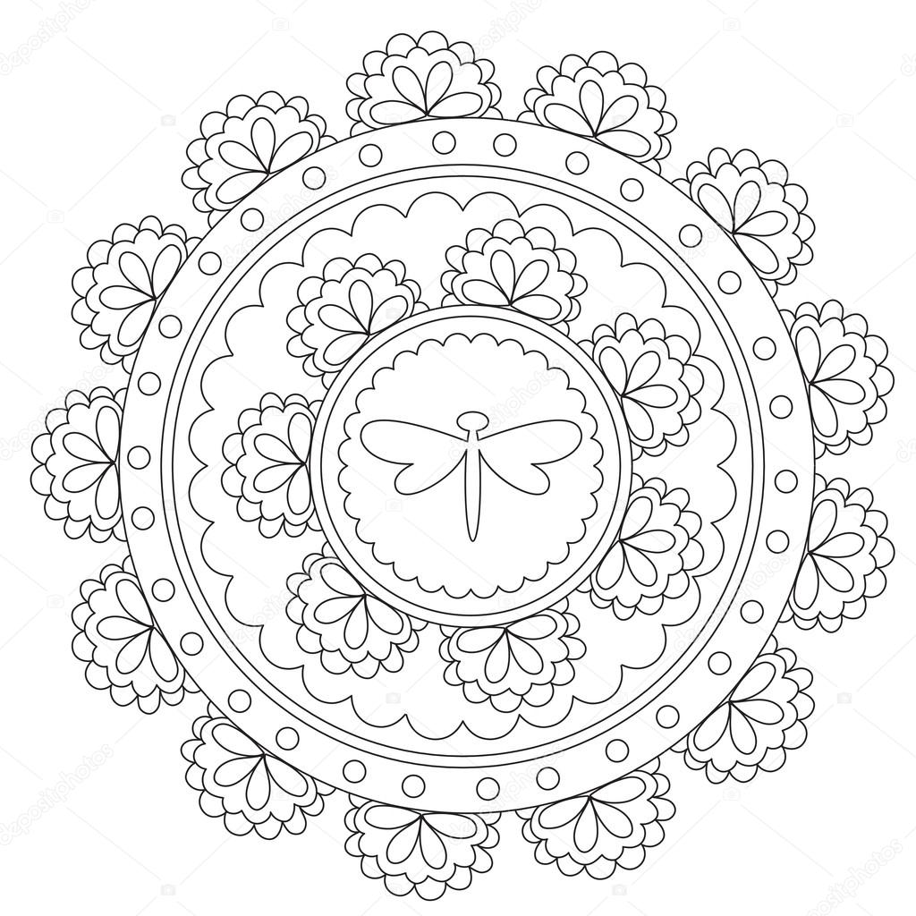 Colorear Mandala libélula negra — Vector de stock © ingasmk #113579468