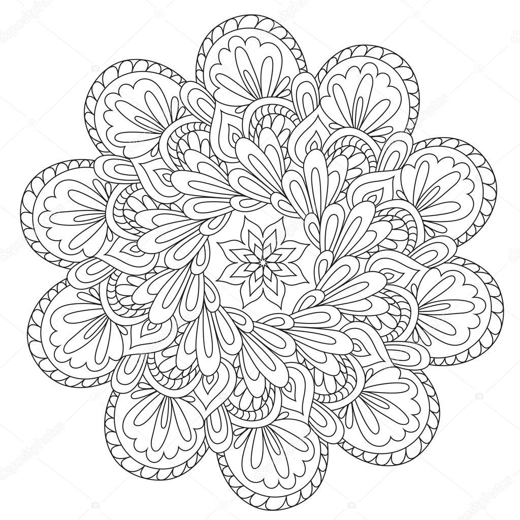 Güzel Soyutlama Mandala Boyama Stok Vektör Ingasmk 113579740