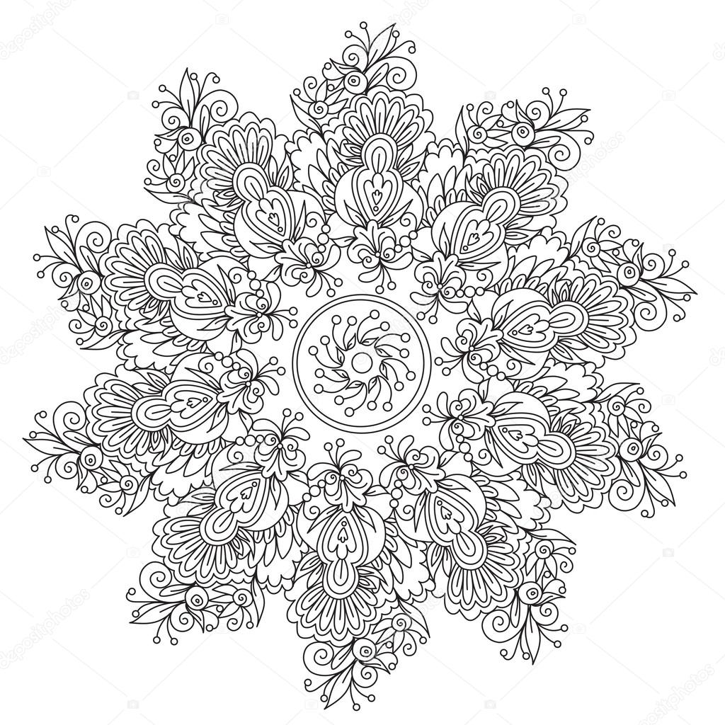 Coloring Floral Abstraction Mandala Stock Vector C Ingasmk