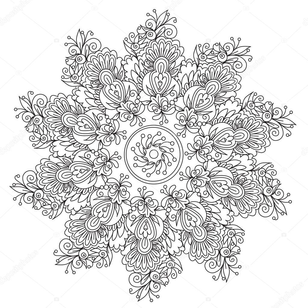 Coloring Floral Abstraction Mandala Stock Vector C Ingasmk