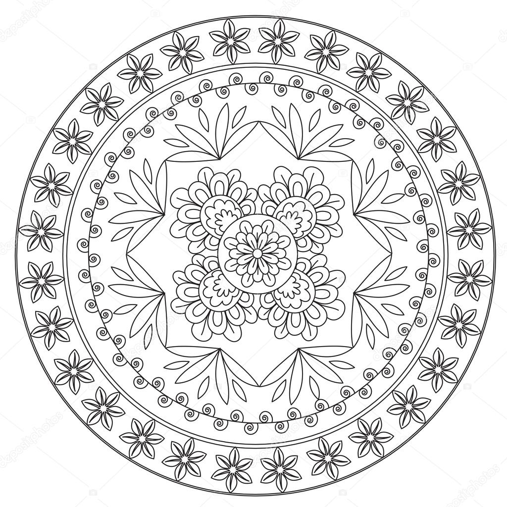 etnische bloem mandala kleurplaten stockvector 169 ingasmk