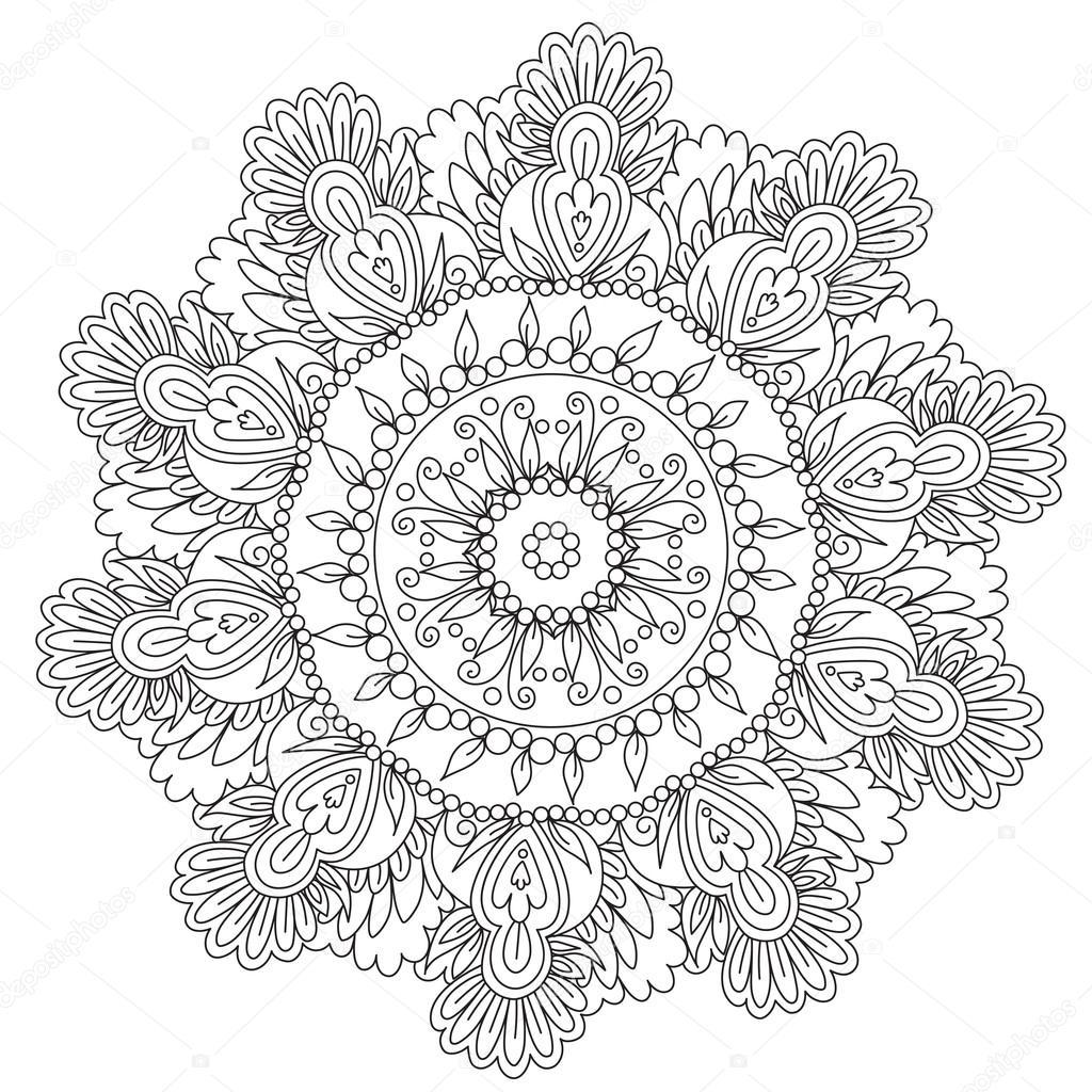 Coloring Floral Flower Mandala Stock Vector C Ingasmk 113580104