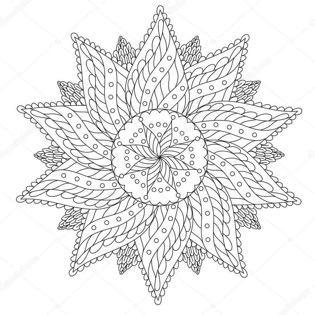 Coloring Floral Vintage Mandala Stock Vector C Ingasmk 113580162