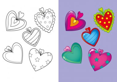 Coloring Book Of Set Different Hearts