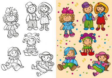 Coloring Book Of Different Cute Dolls