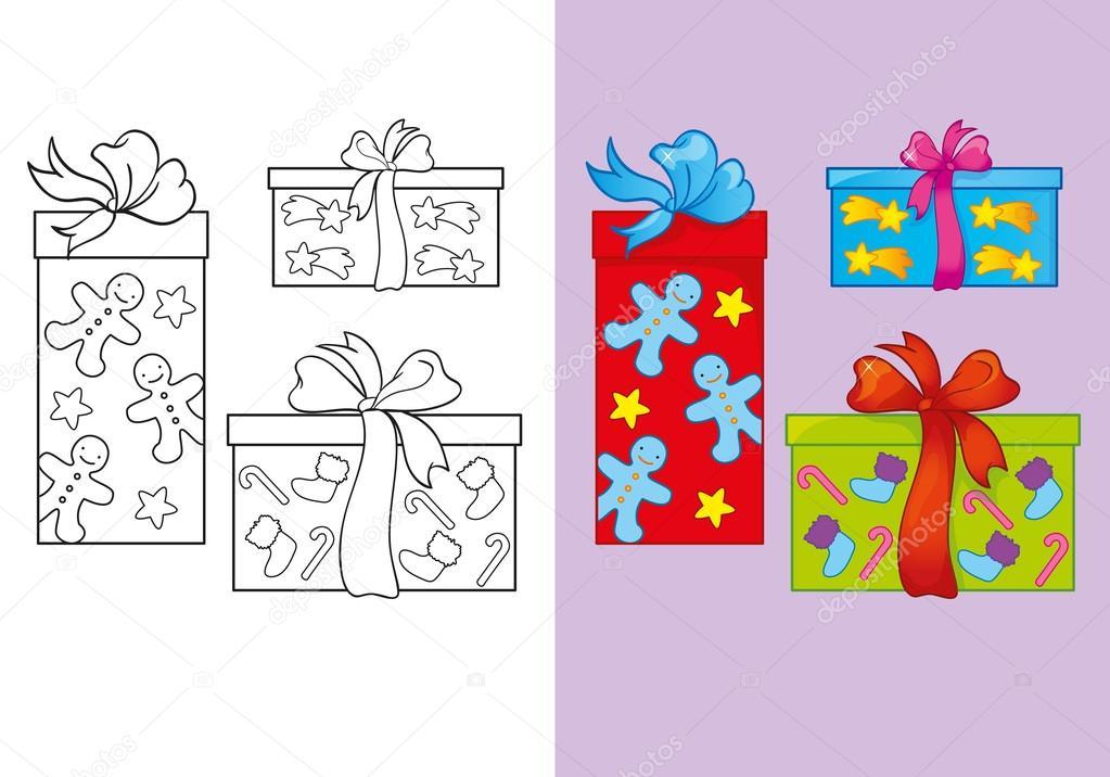 セットのクリスマス プレゼントの塗り絵 ストックベクター Ingasmk