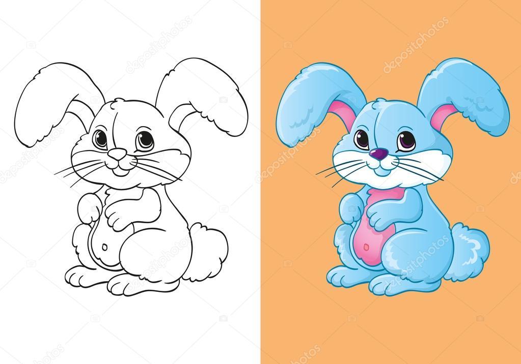 şirin Mavi Küçük Tavşan Boyama Kitabı Stok Vektör Ingasmk 91252642