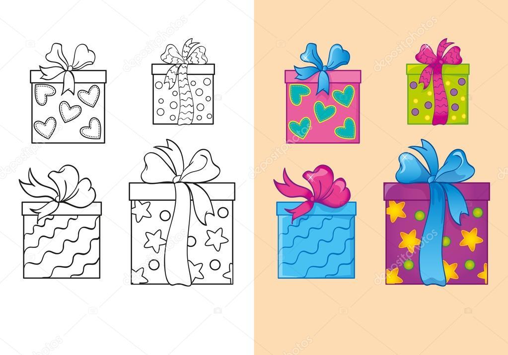 Libro para colorear de cajas de regalo de Navidad Plaza de conjunto ...