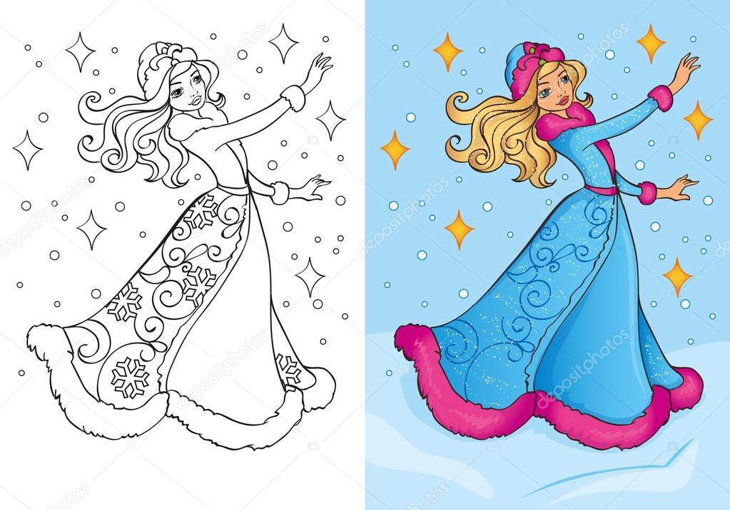 раскраска снегурочка и снеговик раскраска снегурочка