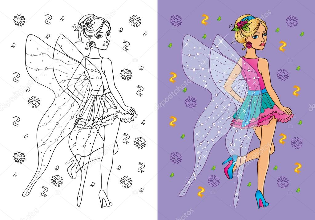 Libro de chica en traje de hadas para colorear — Archivo Imágenes ...