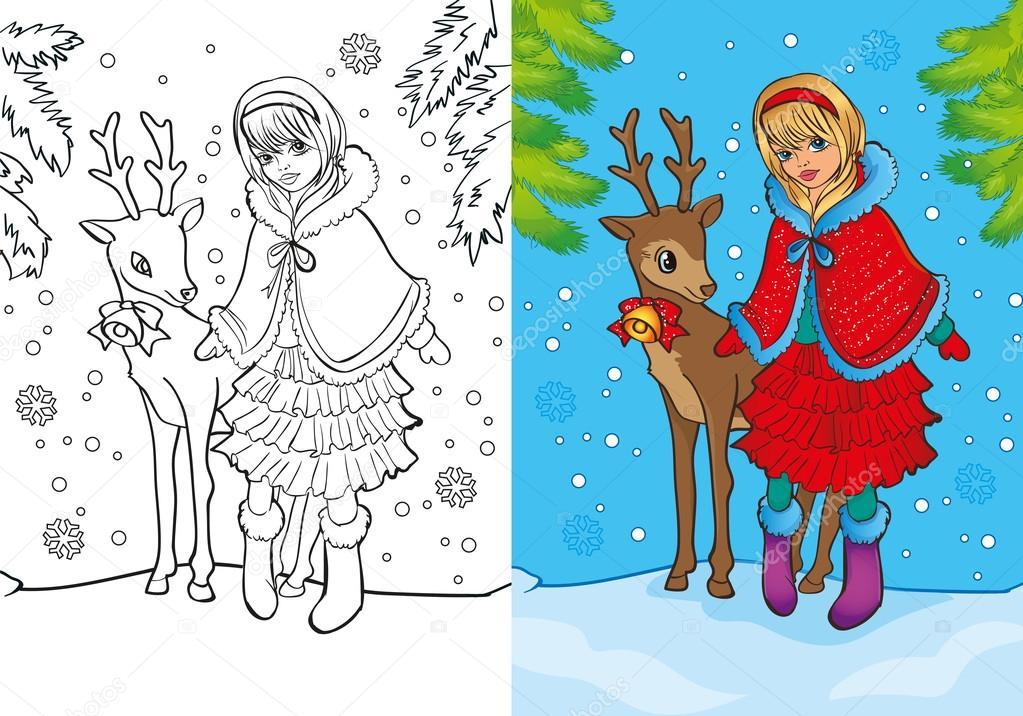 Kitap Bir Noel Kız Boyama Standları Ile Geyik Stok Vektör