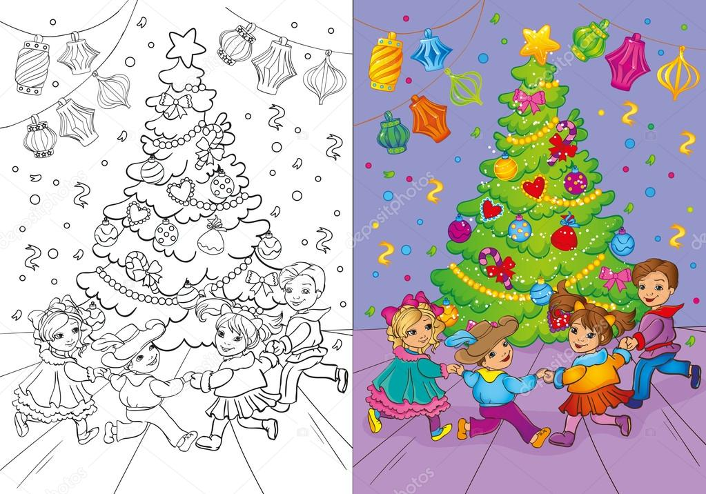 Coloring Book Of Christmas Carnival Rounde Dance